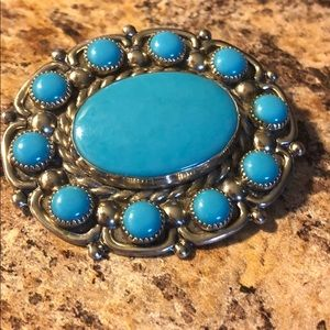 silver & tourquoise handmade vintage broach